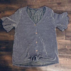 Striped Button Down Tie Front Shirt